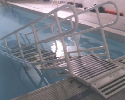 Portable Pool Handrails : Pool ramps steps swimming pools above ground